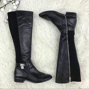 Michael Kors Leather Stretch Black Riding Boot